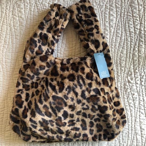 f87863a95 Plush leopard print purse bag new! Wild Fable NWT